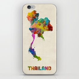 Thailand Watercolor Map iPhone Skin