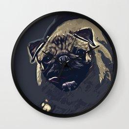 hungry pug dog vector art late night Wall Clock