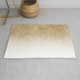 Glamorous Gold Glitter Sequin Ombre Gradient Rug