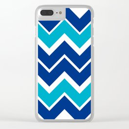 Big Chevron:  Blue + Turquoise Clear iPhone Case