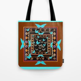 Turquoise-Chocolate Brown Western Art Tote Bag