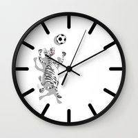 football Wall Clocks featuring Zebra Football by mailboxdisco