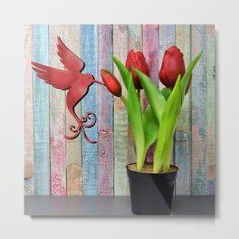 Tulips with Bird Metal Print
