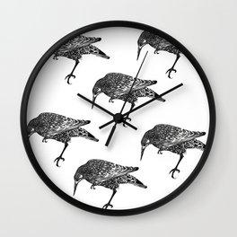 Block Print Bird Wall Clock