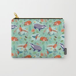 Woodland Animals on Green Carry-All Pouch