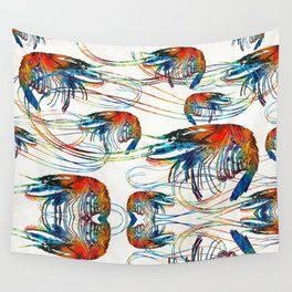 Colorful Shrimp Collage Art by Sharon Cummings Wall Tapestry