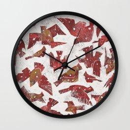 Snowy Cardinals Wall Clock
