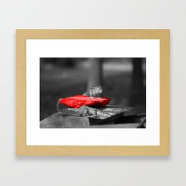 On the red table Framed Art Print