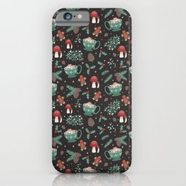 Cottagecore Christmas Black iPhone Case