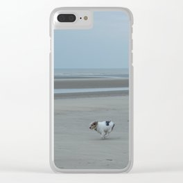 dog running on the beach Clear iPhone Case