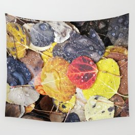 Multicolored Aspen Leaves in Woods Wall Tapestry