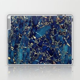 Dark blue stone marble abstract texture with gold streaks Laptop & iPad Skin