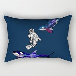 Astronaut meets killer whale Rectangular Pillow
