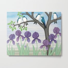 tree swallows & irises Metal Print