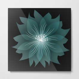 Blue flower on a black background . Metal Print