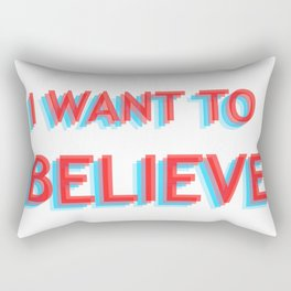 I Want To Believe - Blue/Red Rectangular Pillow