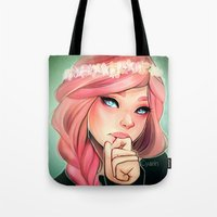 cyarin Tote Bags featuring Pink and Flowers by Cyarin