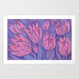 Funky Tulips, Pink Flowers Spring Floral Pastel  Art Print