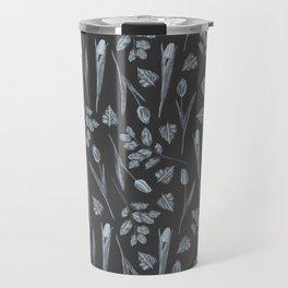 Modern botanical black gray watercolor floral Travel Mug