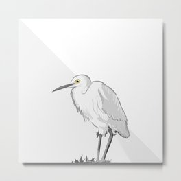Grey Heron Minimalist Metal Print