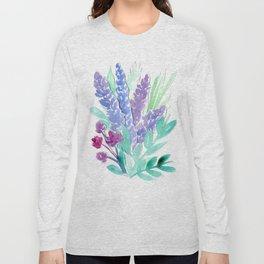 Lavender Floral Watercolor Bouquet Long Sleeve T-shirt