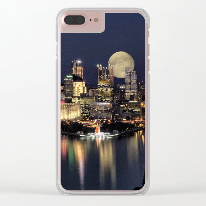 Moon Rise Over Pittsburgh Clear iPhone Case