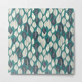 leaves and feathers teal Metal Print