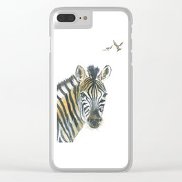 Zebra and Birds Clear iPhone Case