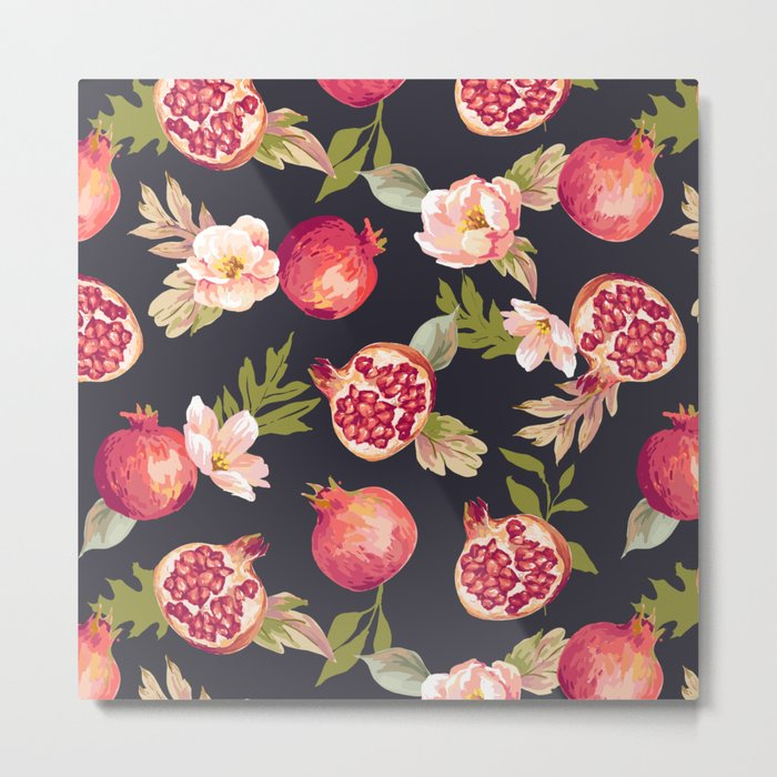 Pomegranate patterns - floral roses fruit nature elegant pattern Metal Print