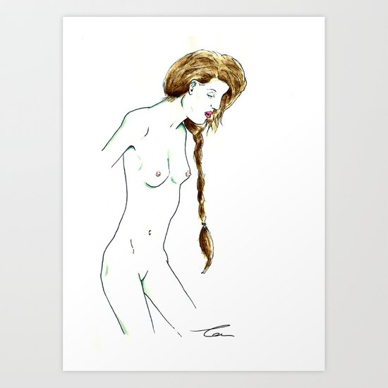 Plait Girl Art Print