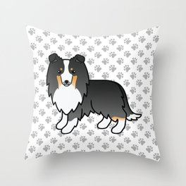 Tricolor Shetland Sheepdog Dog Cartoon Illustration Throw Pillow