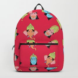 Red Krishna, Ganesha, and Hanuman pattern Backpack