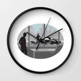 Office Worker Looking Through Window Oval Woodcut Wall Clock
