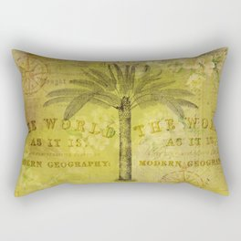 Vintage Journey palmtree typography travel collage Rectangular Pillow