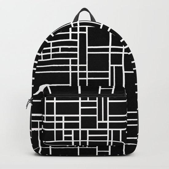 Map Outline White on Black Backpack