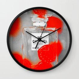 No 5 Red Splash Wall Clock