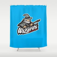 middle earth Shower Curtains featuring Middle Earth Wizards by Buby87