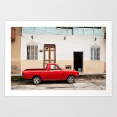 Ecuadorian red car Art Print
