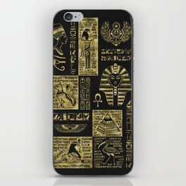 Egyptian  hieroglyphs and symbols gold on black leather iPhone Skin