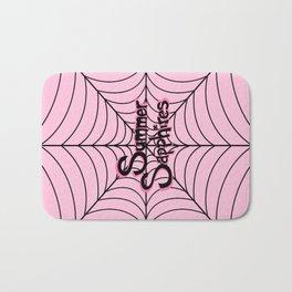 Pink Spiderweb Logo Bath Mat