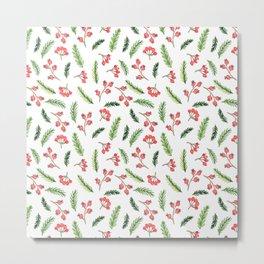 Bright Hand Drawn Christmas Mistletoe Pattern Metal Print