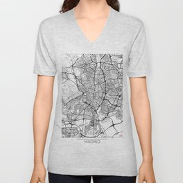 Madrid Map White Unisex V-Neck