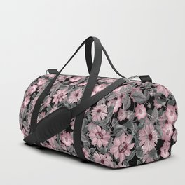 Nostalgic Floral Pattern On Black Duffle Bag