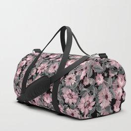 Nostalgic Floral Pattern On Black Duffle Bag