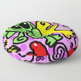 The Baby Alien, Crazy Hand Drawn Doodle Papers Graphic Floor Pillow