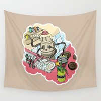 kitchen Wall Tapestries featuring Kitchen Robot by Creativemushroom