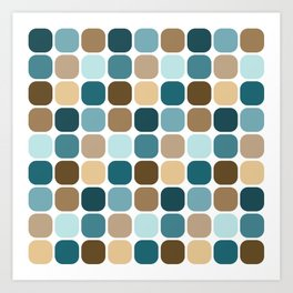 Mid Century Modern Rounded Square Small Tile Pattern // Brown, Caribbean Blue, Aqua Art Print