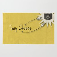 cheese Area & Throw Rugs featuring Say Cheese by Stuff Your Eyes