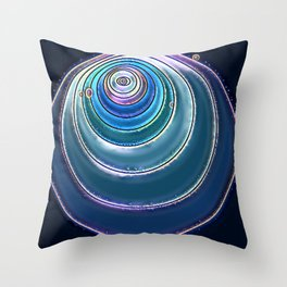 Purple Blue Circle Center Eye Art Throw Pillow