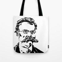 nietzsche Tote Bags featuring Friedrich Nietzsche by Joshua M. Paschal